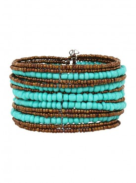 Fayon Funky Fashion Turquoise Beaded Multilayer Cuff Bracelet
