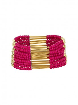 Fayon Daily Casual Work Hot Pink Beaded Shourouk Bracelet