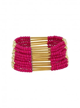 Fayon Party Style Diva Hot Pink Beads Stretchable Bracelet