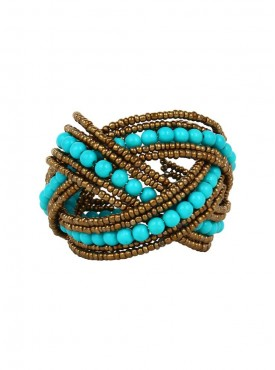 Fayon Weekend Party Turquoise Beads Cuff Bracelet