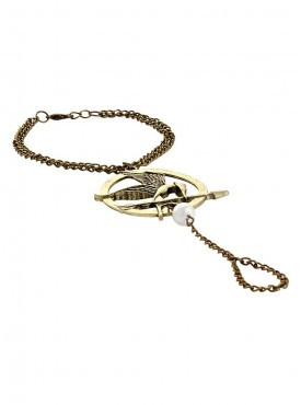 Fayon Fashion Statement Golden Arrow with Bird and Ring Bracelet