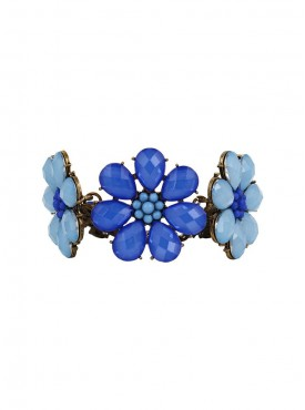 Fayon Fabulous Statement Blue and Sky Blue Floral Chain Bracelet