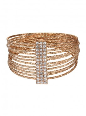 Fayon Fabulous Statement Golden Multilayer Braided Bangle Set