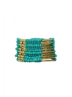 Fayon Party Style Diva Dark Blue Beads Cuff Bracelet