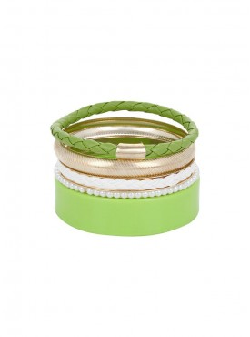 Fayon Chunky Fashion Green Charming Bangle Set