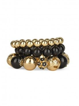 Fayon Trendy Costume Black Golden Beaded Multilayer Bracelet