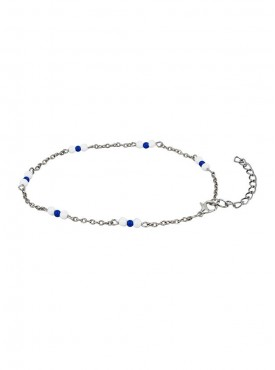 Fayon Daily Casual Work White and Blue Beads Foot Chain