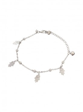 Fayon Fashion Statement Silver Fatima Hand Charms Anklet