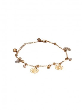 Fayon Trendy Costume Golden Roses and Crystals Fashion Anklet