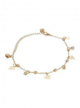 Fayon Designer Modern Golden Bow Charms and Crystals Foot Chain