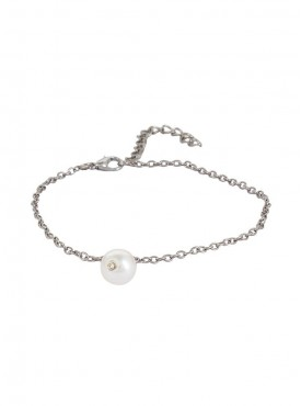 Fayon Designer Modern Silver Anklet with Pearl