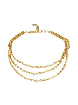 Fayon Fashion Statement Golden Three Layers Satellite Anklet (Single Piece)