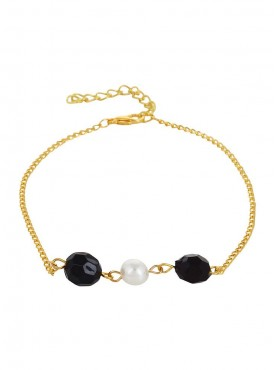 Fayon Weekend Casual Black and White Pearls Golden Anklet (Single Piece)