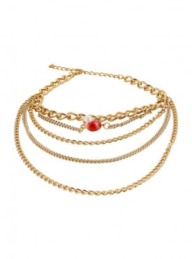 Fayon Fashion Statement Golden Multilayer Chain With Pearl High Heeled Anklet