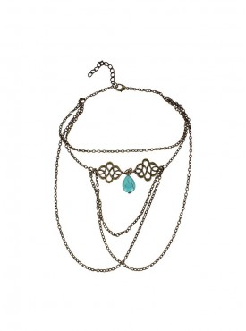 Fayon Chic Stylish Moroccan Swirl and Turquoise Drop Head Arm Chain