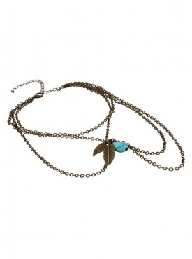 Fayon Fashion Statement Golden Vintage Feather Charm and Turquoise Beads Arm Chain