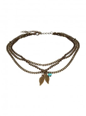 Fayon Funky Fashion Golden Vintage Gold Leaves Turquoise Bohemian Beads Arm Chain