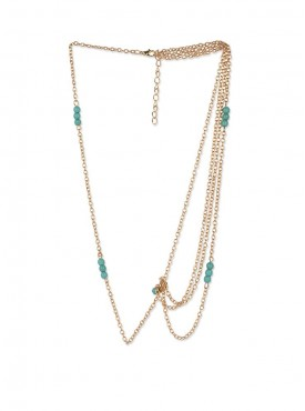 Fayon Designer Modern Golden Chain With Green Beads Headgear