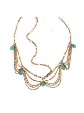 Fayon Funky Fashion Multi Layer Golden Chains With Turquoise Beads Headgear