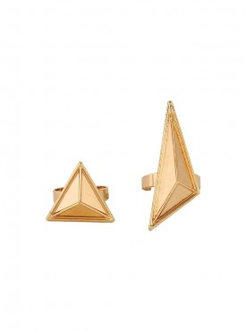 Fayon Chunky Fashion Two Triangle Combo Gold Ring