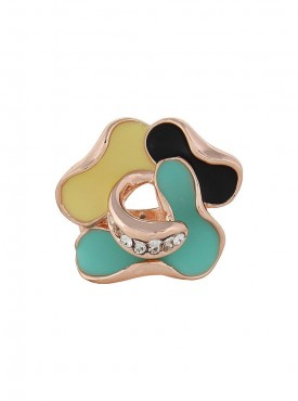Fayon weekend Casual MultiColor Rose Gold Enamel Flower Ring