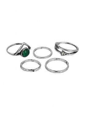 Fayon Trendy Costume Silver 4 Different Style Green Bead Ring Set