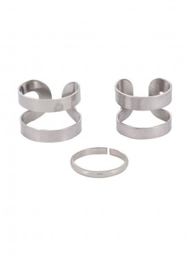 Fayon Weekend Casual Silver Spiral Rings Set