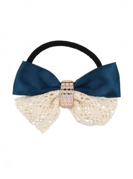 Fayon Trendy Costume Fashion Bow Design Dark Blue Rubber Band
