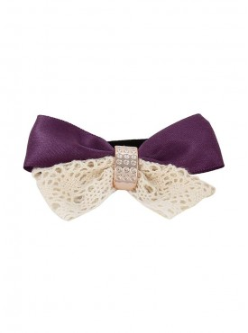Fayon Party Style Diva Bow Design Purple Rubber Band