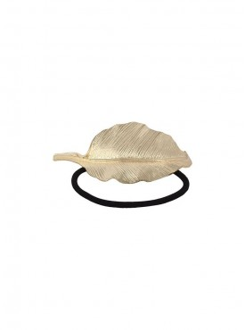 Fayon Daily Casual Work Golden Leaf Shape Black Rubber Band