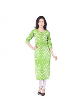 Green color lehariya pattern cotton straight kurti