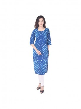 Sky blue color lehariya pattern cotton straight kurti