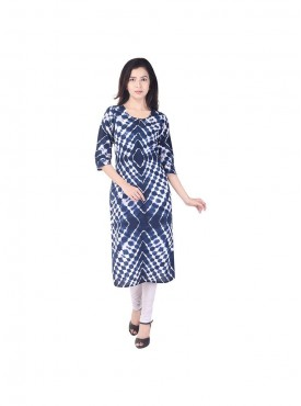Dark blue color lehariya pattern cotton straight kurti