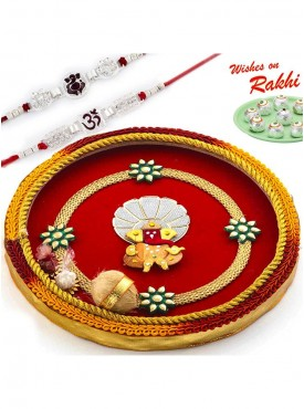 Handcrafted Ganesh Motif Thali Hamper with Set of 2 Traditional Rakhis