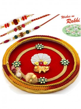 Beautiful Red Ganesh Motif Thali Hamper with Set of 3 Traditional Rakhis