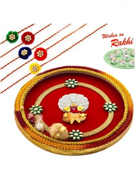Beautiful Gat Ganesh Motif Thali Hamper with Set of 5 Traditional Rakhis