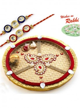 Paisley Design Thali Hamper with Set of 2 Stylish Rakhis