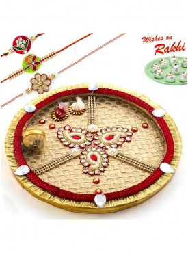 Tri Paisley Design Gat Motif Thali Hamper with Set of 3 Rakhis