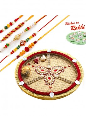 Beautiful Paisley Design Gat Motif Thali Hamper with Set of 5 Rakhis