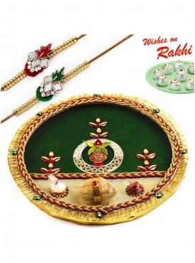 Green Gold Shade Thali Hamper with Set of 2 Traditional Rakhis
