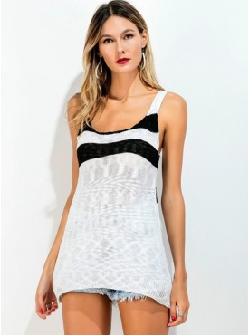 Cheap Fashion Backless Stripes Knitting Camisole