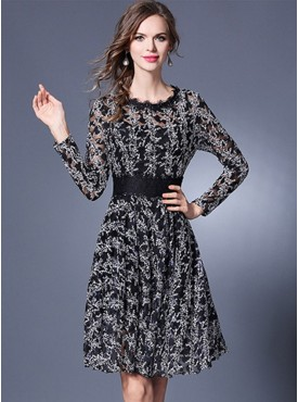 Retro Women Fashion Mini Flowers Lace A-line Dress