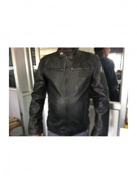 Black Solid Leather Jacket