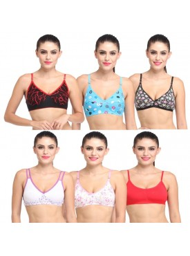 lime combo of 6 printed bras for women