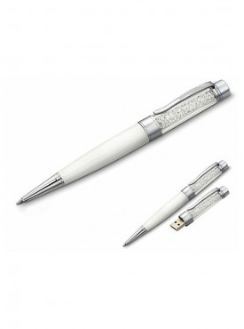 Microware White Crystal Pen 16 GB Pen Drive Multicolor