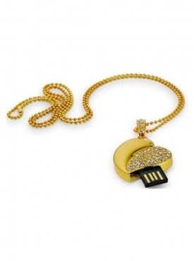Microware Heart Shape 16 GB Pen Drive Gold