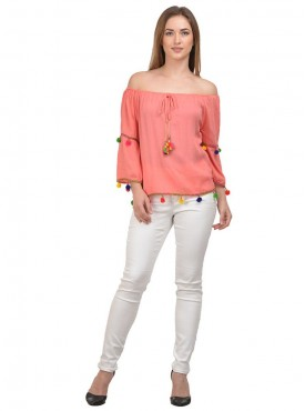 Raabta Peach off Shoulder top with Pom Pom
