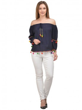 Raabta Nevy Blue off Shoulder top with Pom Pom