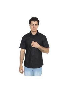 Fizzaro Black linen shirt for men