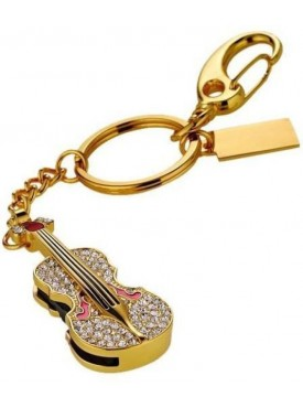 Microware Golden Guitar Shape 16 GB Pen Drive Gold